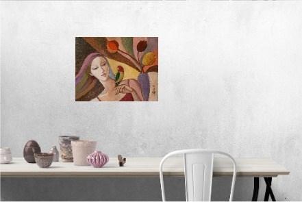 Dziewczyna z papugą - wizualizacja pracy autora Agnieszka Korczak-Ostrowska