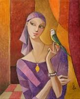 Obraz do salonu artysty Agnieszka Korczak-Ostrowska pod tytułem Dziewczyna i ptak