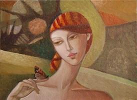 Obraz do salonu artysty Agnieszka Korczak-Ostrowska pod tytułem Dziewczyna z motylkiem