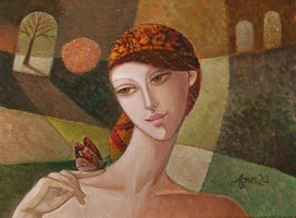 Living room painting by Agnieszka Korczak-Ostrowska titled Girl with butterfly II