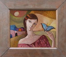 Living room painting by Agnieszka Korczak-Ostrowska titled Girl with butterfly III