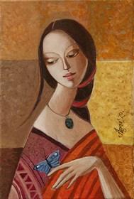 Obraz do salonu artysty Agnieszka Korczak-Ostrowska pod tytułem Dziewczyna z motylem