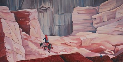 Living room painting by Jolanta Kitowska titled Going home in Petra