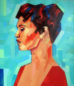 Living room painting by Piotr Kachny titled Blue Sky for Blue Girl