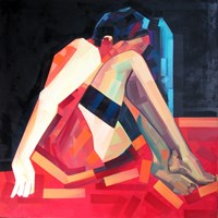Living room painting by Piotr Kachny titled FEMMolEcule in eMOTION
