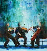 Living room painting by Cyprian Nocoń titled Blue polyphony