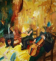 Living room painting by Cyprian Nocoń titled Concert for three