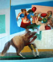 Living room painting by Cyprian Nocoń titled  Games