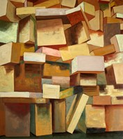 Living room painting by Cyprian Nocoń titled Boxes