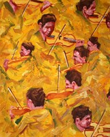 Living room painting by Cyprian Nocoń titled Musical sketches - the golden line