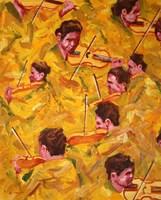 Obraz do salonu artysty Cyprian Nocoń pod tytułem Szkice muzyczne - złota linia