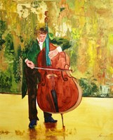 Living room painting by Cyprian Nocoń titled  Soloist in a green tuxedo