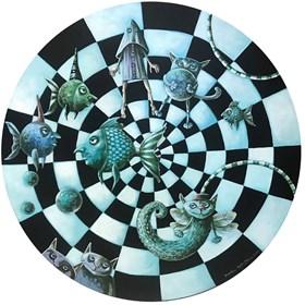 Obraz do salonu artysty Magdalena Rytel-Skorek pod tytułem Impreza w akwarium