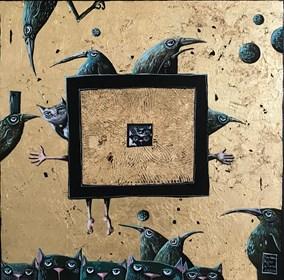 """Obraz do salonu artysty Magdalena Rytel-Skorek pod tytułem To my w statku kosmicznym z cyklu """"Ta bajka jest o Tobie i o mnie"""""""