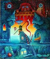 """Obraz do salonu artysty Jacek Lipowczan pod tytułem Patrząc samotnie w """"świetlaną przyszłość"""""""
