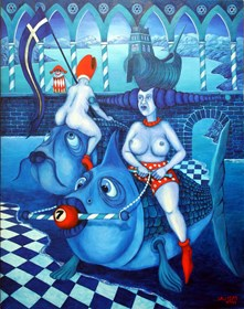 Living room painting by Jacek Lipowczan titled  Freak day - that is, anything can happen