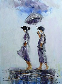 Living room painting by Dariusz Grajek titled Walkers