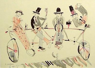Grafika do salonu artysty Dariusz Grajek pod tytułem Band na rowerze....