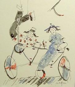 Grafika do salonu artysty Dariusz Grajek pod tytułem Bicyklowa miłość....
