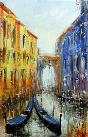 Obraz do salonu artysty Dariusz Grajek pod tytułem Gondole i most....