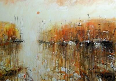 Obraz do salonu artysty Dariusz Grajek pod tytułem Mały port i łodzie....