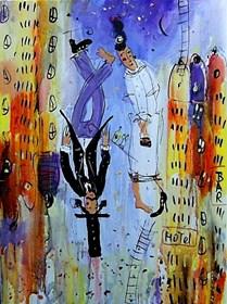 Obraz do salonu artysty Dariusz Grajek pod tytułem Domy i zakochani....