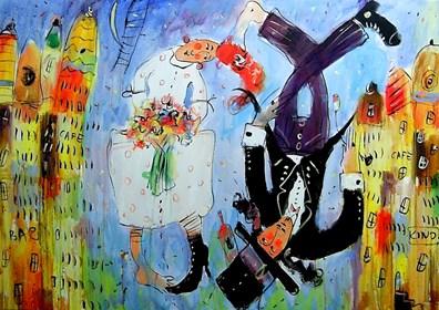 Obraz do salonu artysty Dariusz Grajek pod tytułem Zakochani....
