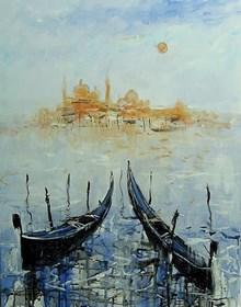 Obraz do salonu artysty Dariusz Grajek pod tytułem Słońce nad gondolami...