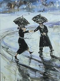Obraz do salonu artysty Dariusz Grajek pod tytułem Zakochane parasolki....