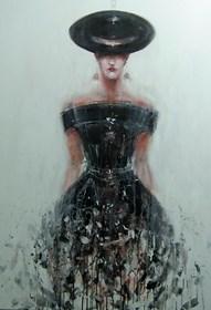 Obraz do salonu artysty Dariusz Grajek pod tytułem Panna w kapeluszu....