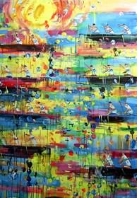 Obraz do salonu artysty Dariusz Grajek pod tytułem Kanadyjkarze...
