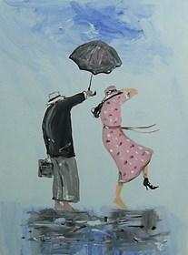 Obraz do salonu artysty Dariusz Grajek pod tytułem Sukienka w groszki....