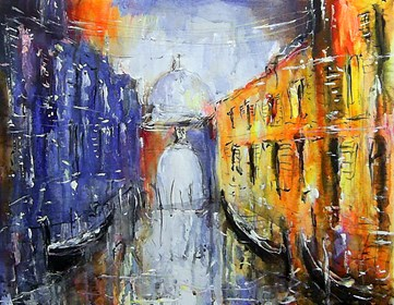 Living room painting by Dariusz Grajek titled Venetian gondolas