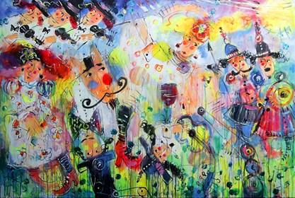 Obraz do salonu artysty Dariusz Grajek pod tytułem Trojanie i Helena....