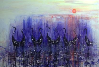 Obraz do salonu artysty Dariusz Grajek pod tytułem Biebrza i żurawie....