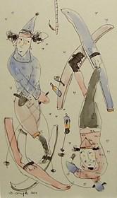 Obraz do salonu artysty Dariusz Grajek pod tytułem Ski team....
