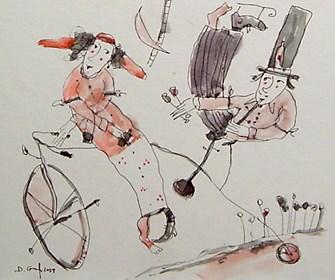 Obraz do salonu artysty Dariusz Grajek pod tytułem Bicykl,muzyka,miłość...