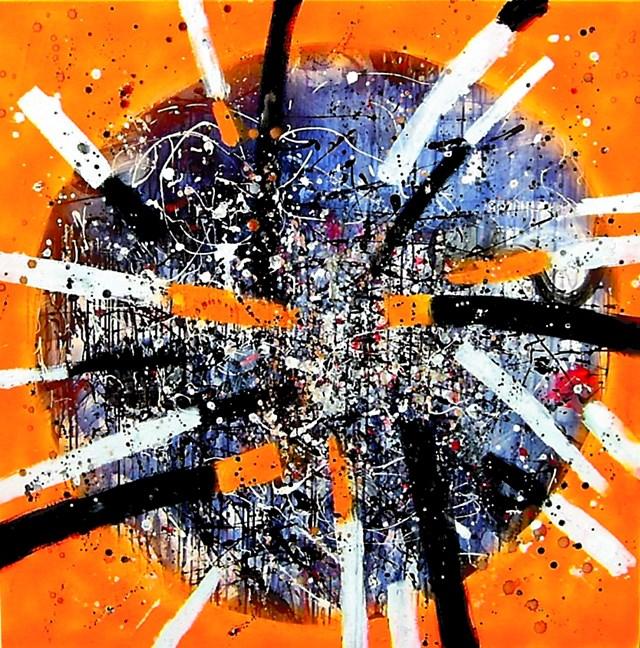 Obraz do salonu artysty Dariusz Grajek pod tytułem Mechaniczna pomarańcza....