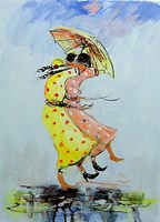 Living room painting by Dariusz  Grajek titled Polka dot dress