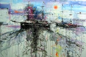 Obraz do salonu artysty Dariusz Grajek pod tytułem Portowe klimaty....