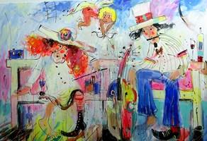 Obraz do salonu artysty Dariusz Grajek pod tytułem Kupidyn i ławeczka.....