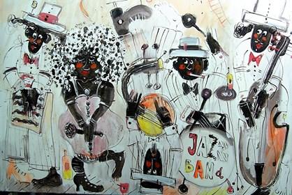 Obraz do salonu artysty Dariusz Grajek pod tytułem Jaazowe granie.....