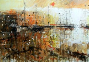 Obraz do salonu artysty Dariusz Grajek pod tytułem Port lligat.....