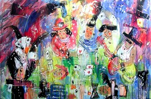 Obraz do salonu artysty Dariusz Grajek pod tytułem Karciarze i ......