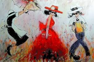 Obraz do salonu artysty Dariusz Grajek pod tytułem Dama w czerwonym kapeluszu....