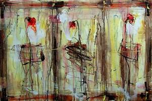 Obraz do salonu artysty Dariusz Grajek pod tytułem Trzy tulipany....