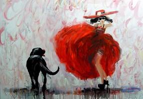 Obraz do salonu artysty Dariusz Grajek pod tytułem Panna i labrador....