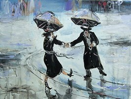 Obraz do salonu artysty Dariusz Grajek pod tytułem Deszczowy spacer...