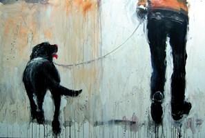 Obraz do salonu artysty Dariusz Grajek pod tytułem Pan i labrador....