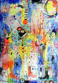 Obraz do salonu artysty Dariusz Grajek pod tytułem Płonąca żyrafa i ......